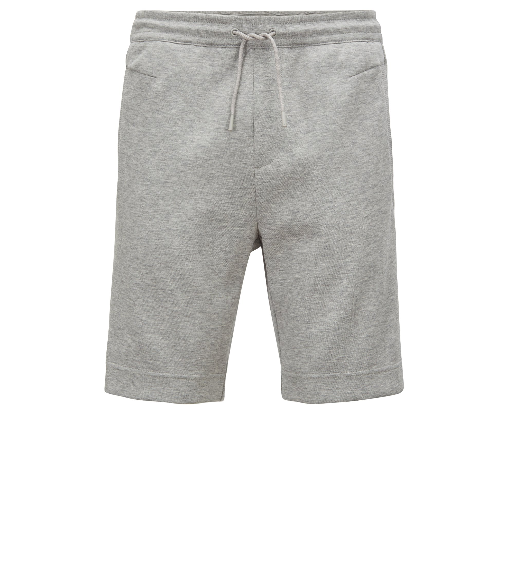 Slim-fit cotton-blend shorts with two-colour logo embroidery, Light Grey