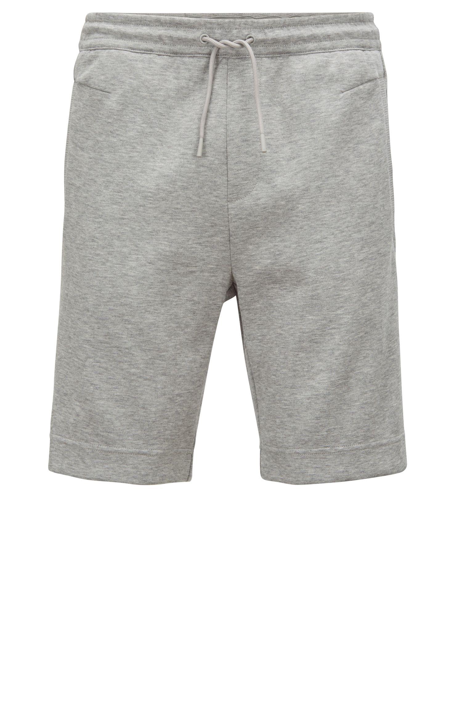 Pantaloncini slim fit in misto cotone con logo bicolore ricamato, Grigio chiaro