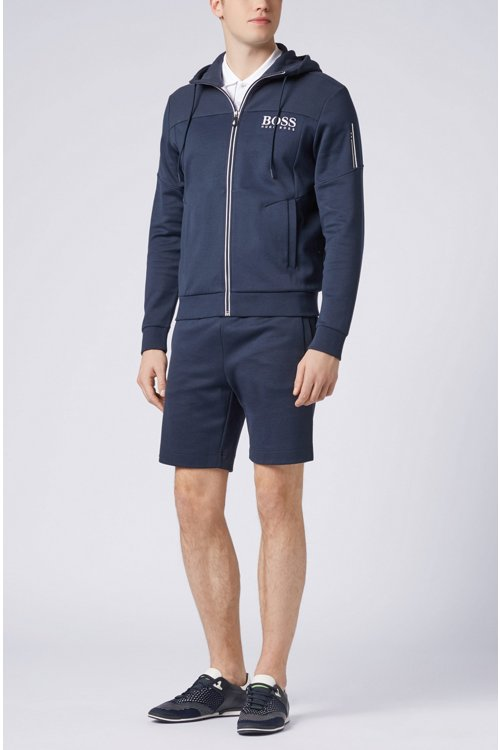 Hugo Boss - Slim-fit cotton-blend shorts with two-colour logo embroidery - 2