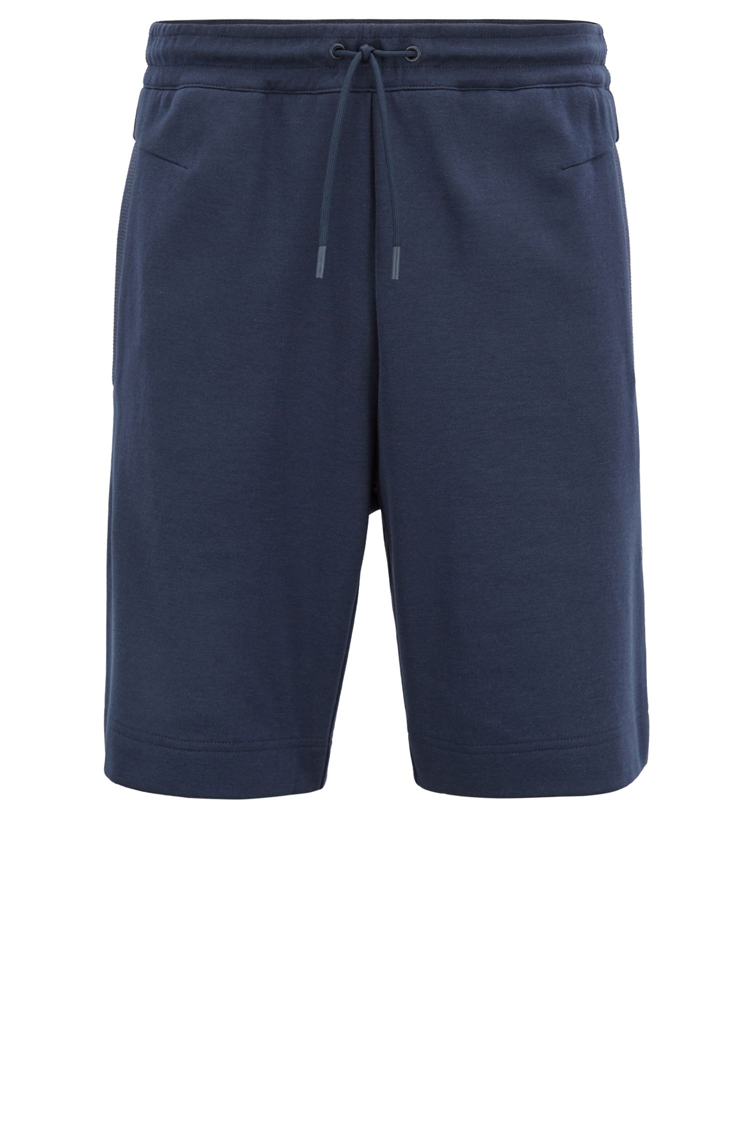Slim-fit cotton-blend shorts with two-colour logo embroidery, Dark Blue