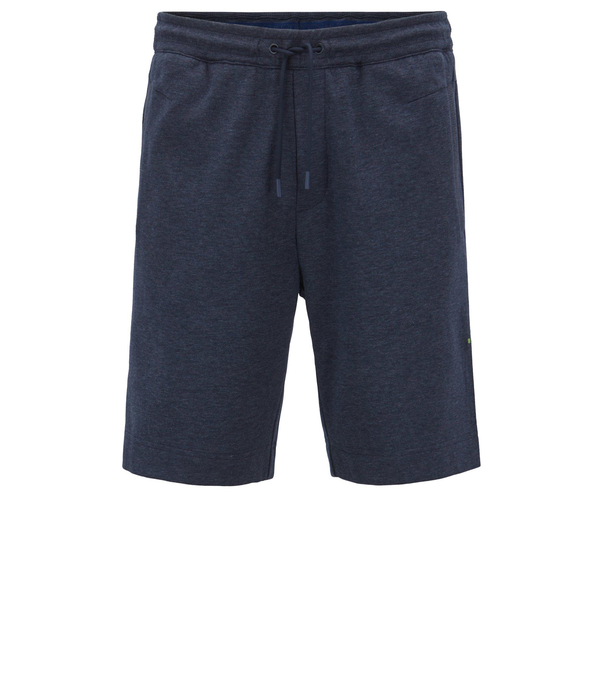 Short Slim Fit en coton mélangé à logo brodé bicolore, Bleu foncé