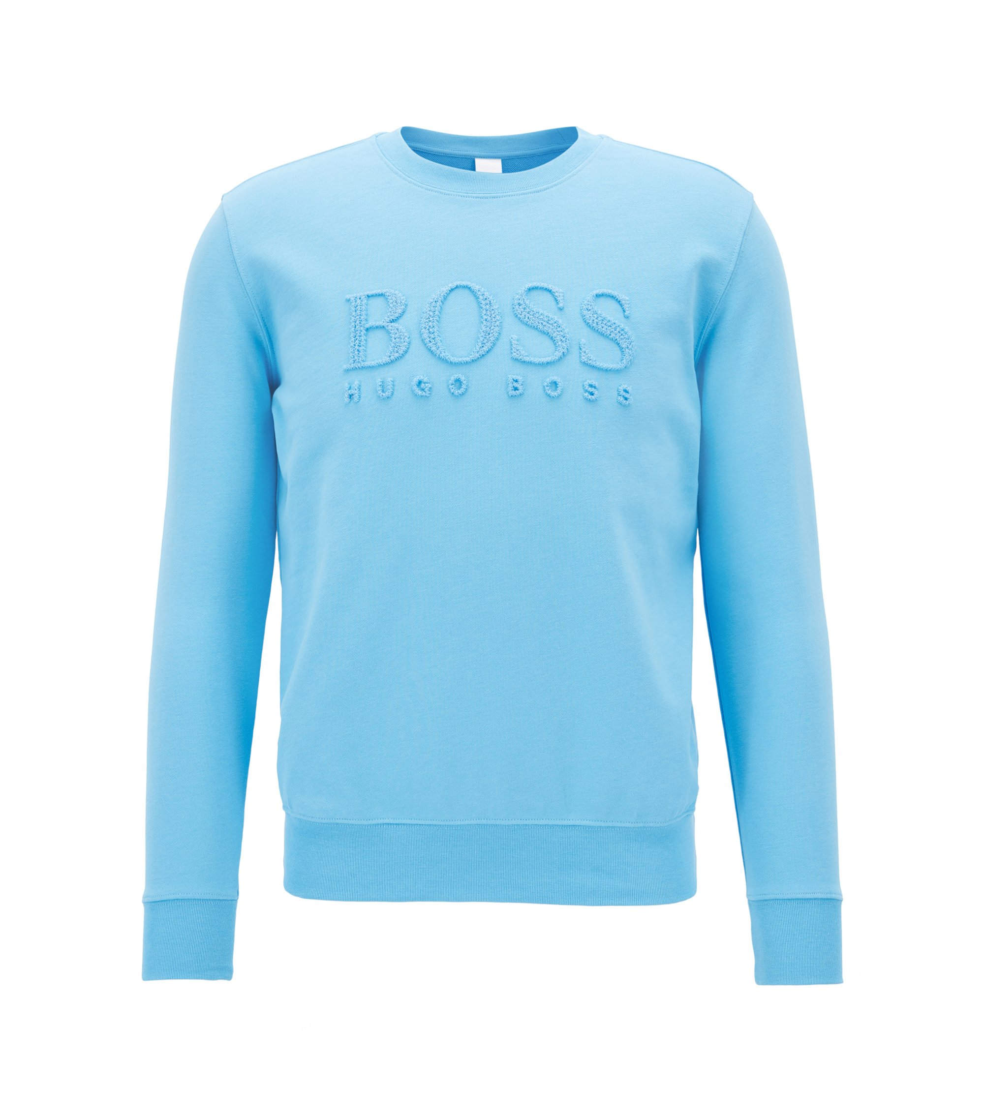 Embroidered crew-neck sweater in French terry, Light Blue