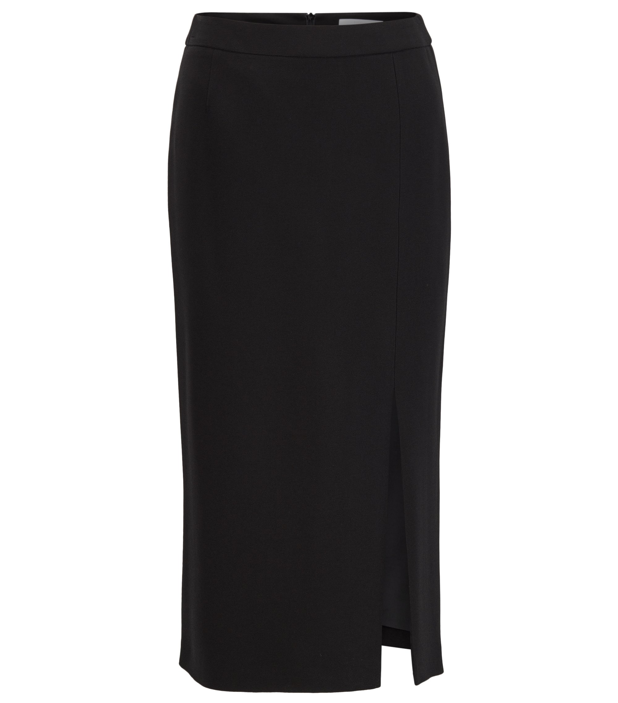 Long-length pencil skirt in ottoman fabric, Black