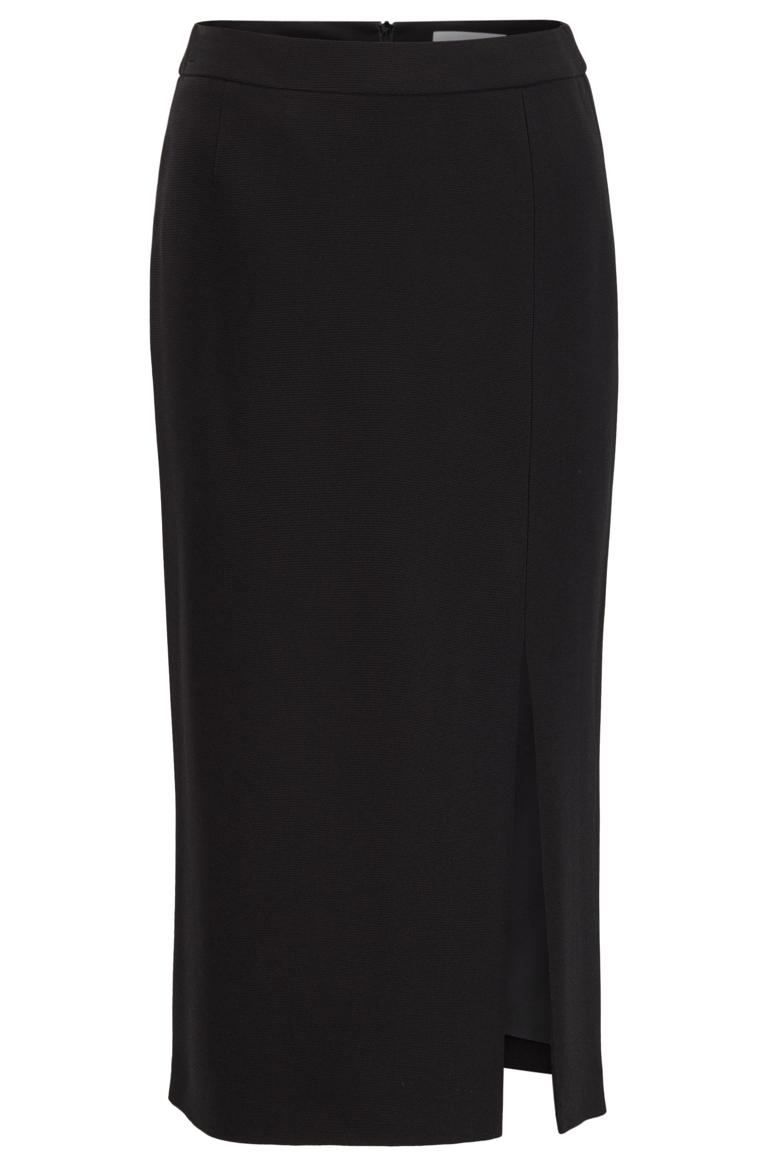 Long-length pencil skirt in ottoman fabric