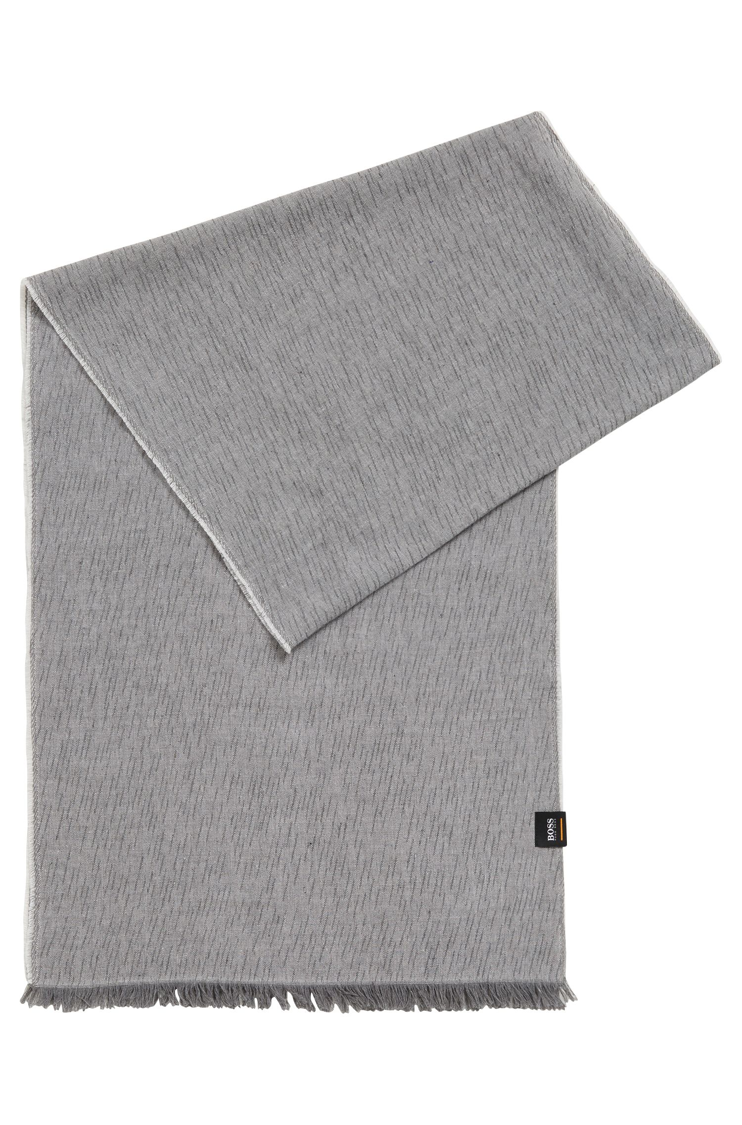 Cotton jacquard scarf with all-over raindrop pattern, Light Grey