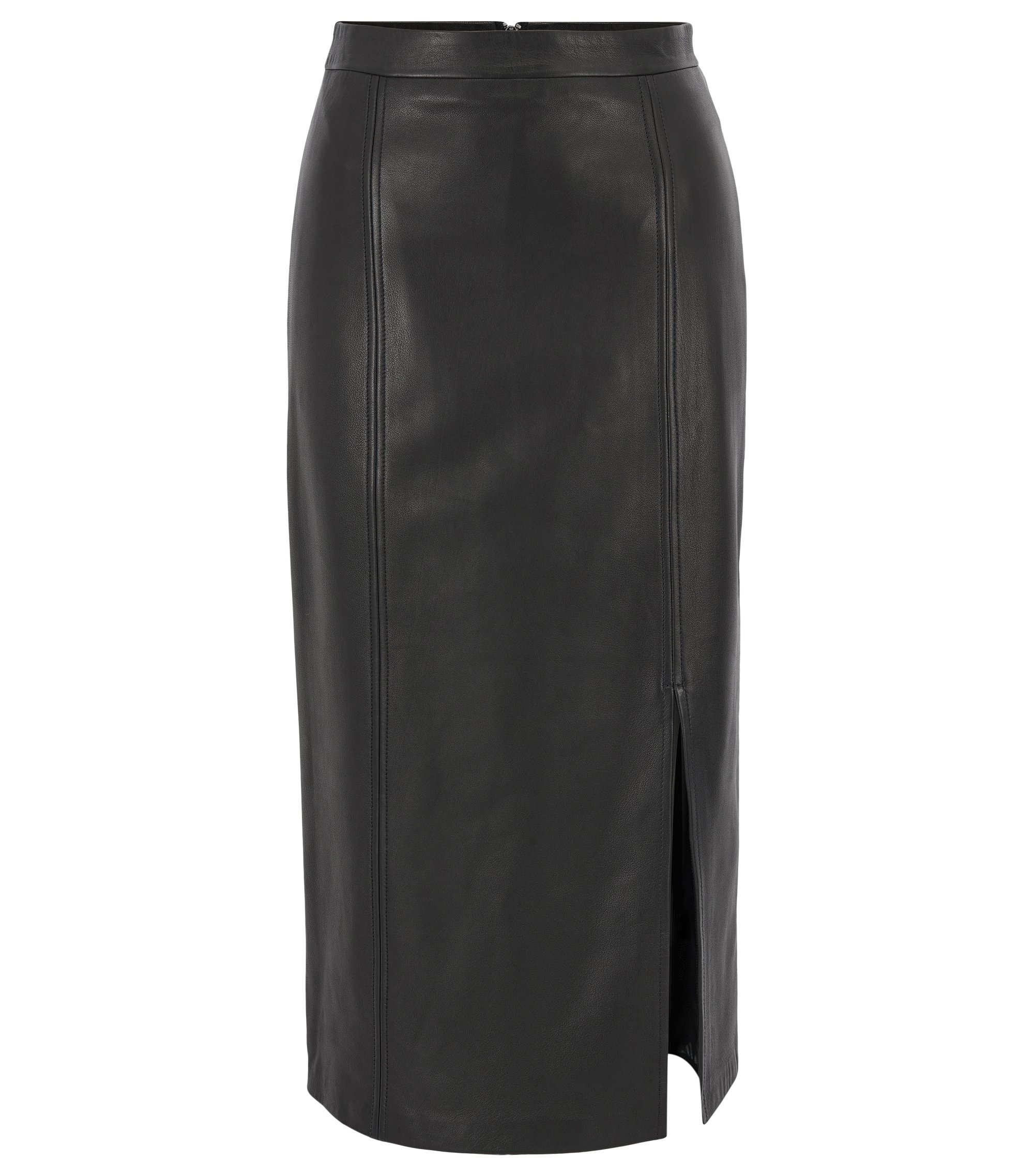 Pencil skirt in lamb leather, Black