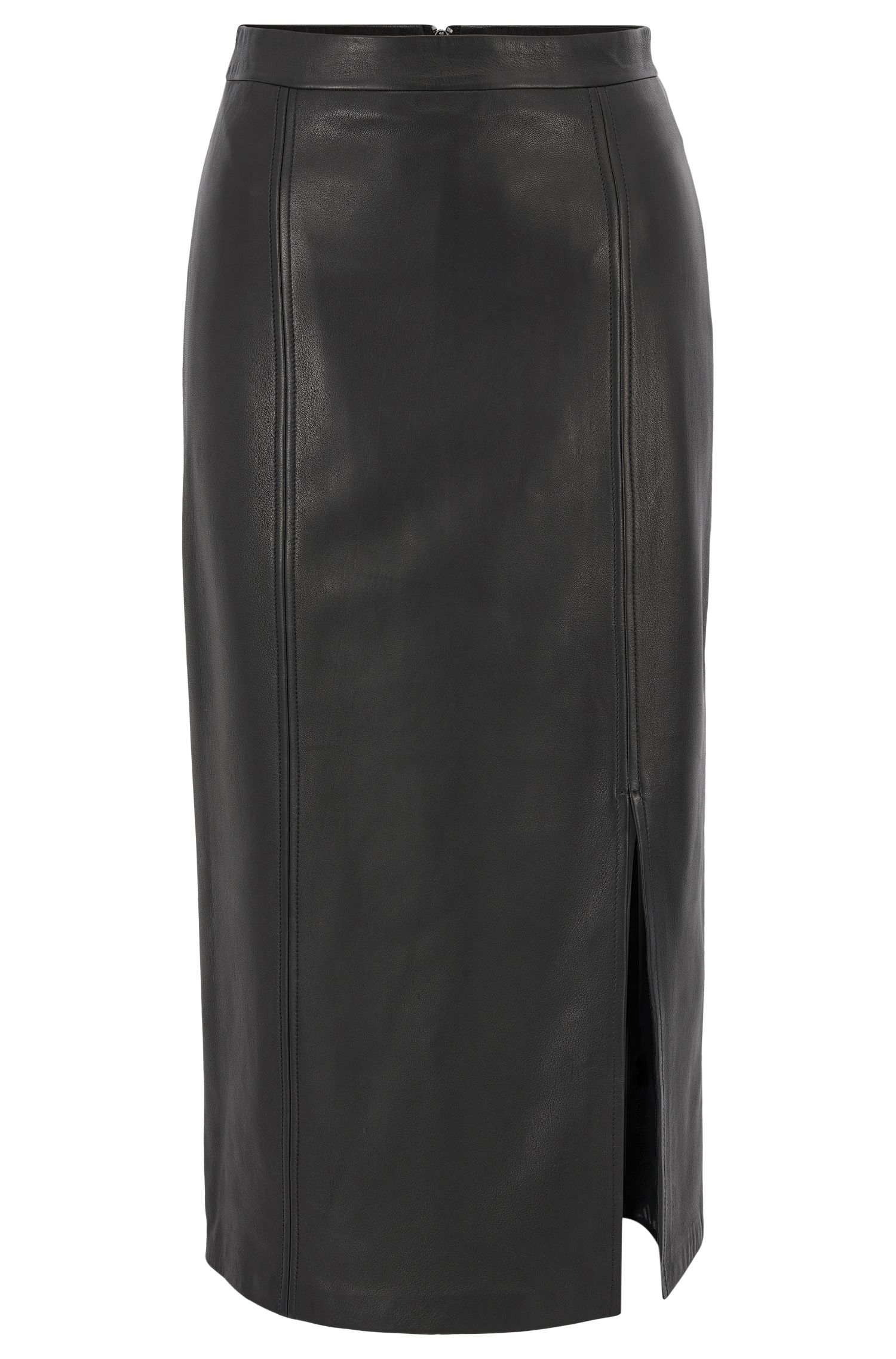 Pencil skirt in lamb leather
