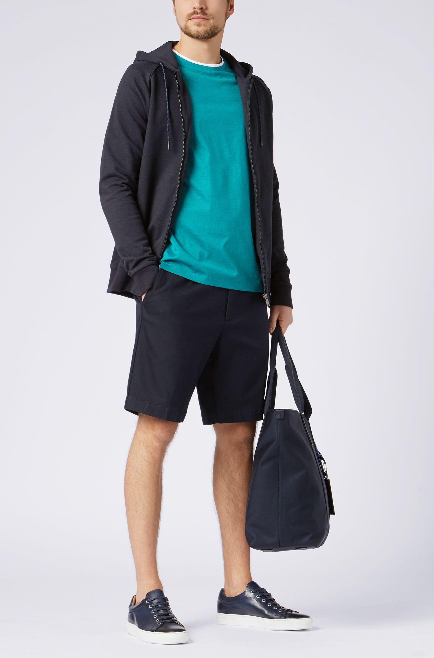 Kapuzen-Sweatshirt aus Baumwoll-Terry mit kontrastfarbenem Innenfutter, Dunkelblau