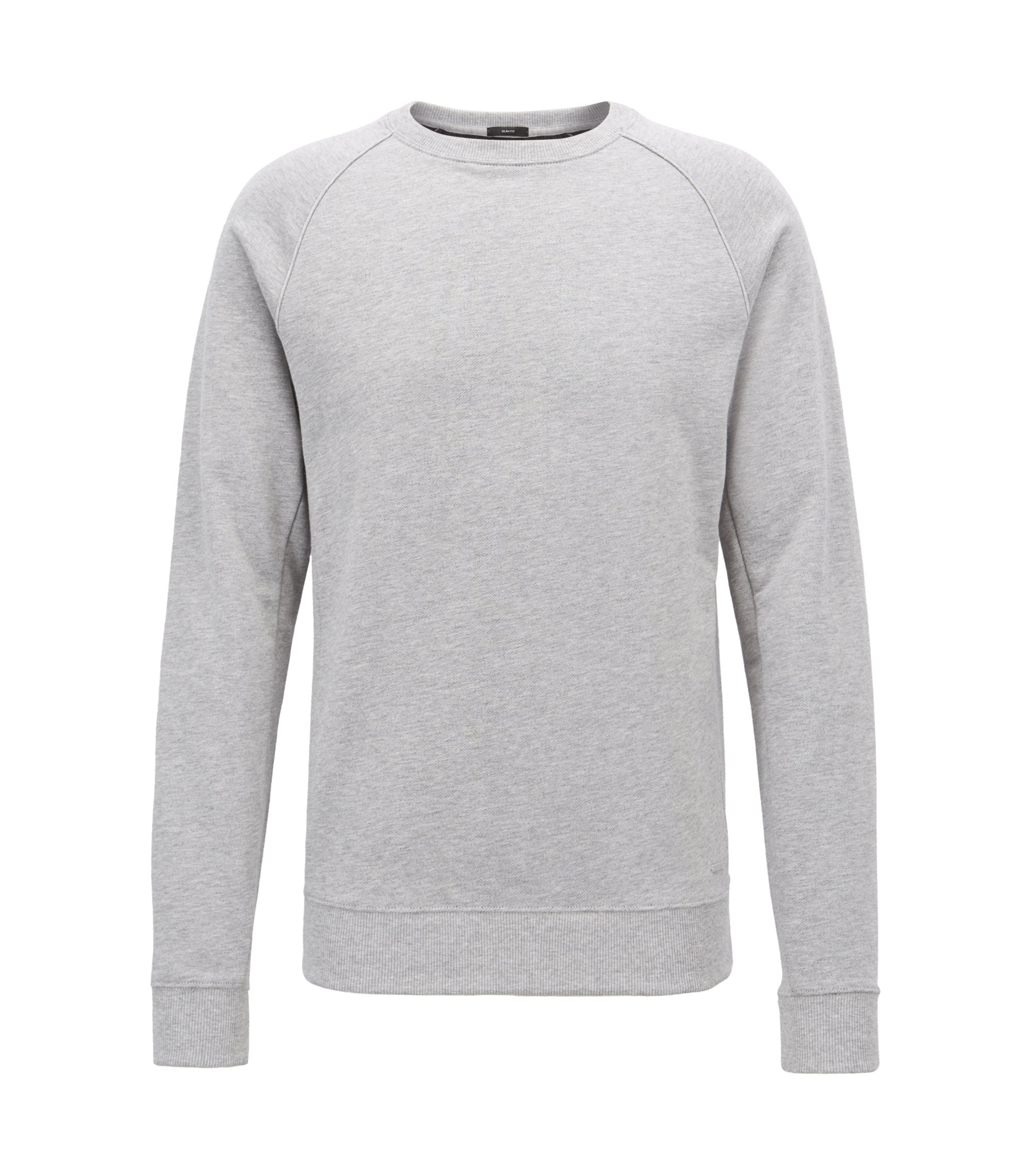 Crew-neck sweater in cotton terry with piping , Open Grey