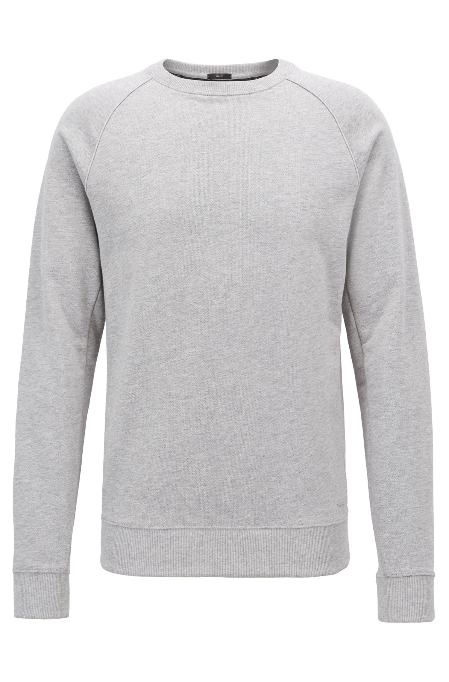 Crew-neck sweater in cotton terry with piping