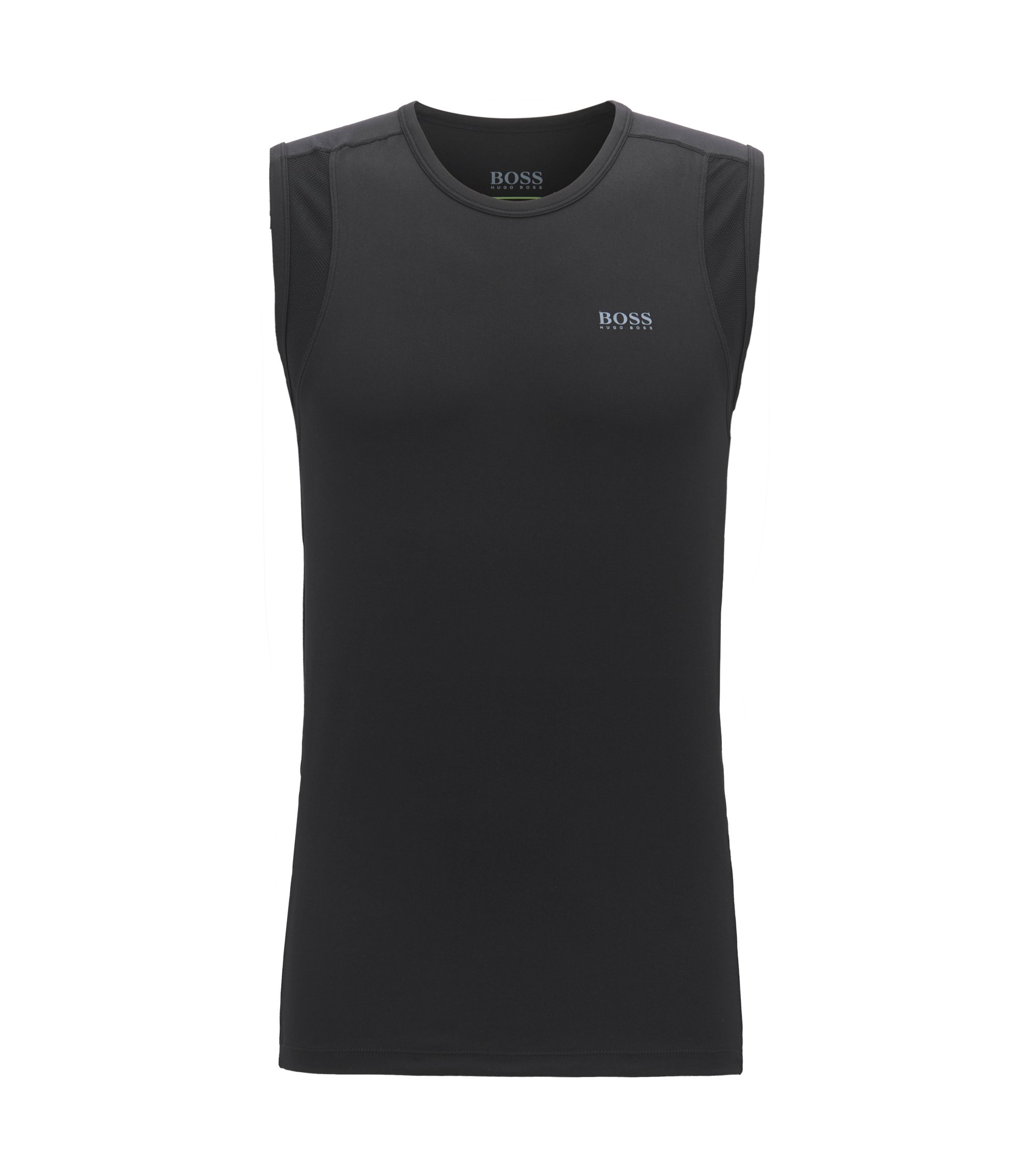 Crew-neck vest in stretch jersey with mesh inserts, Black