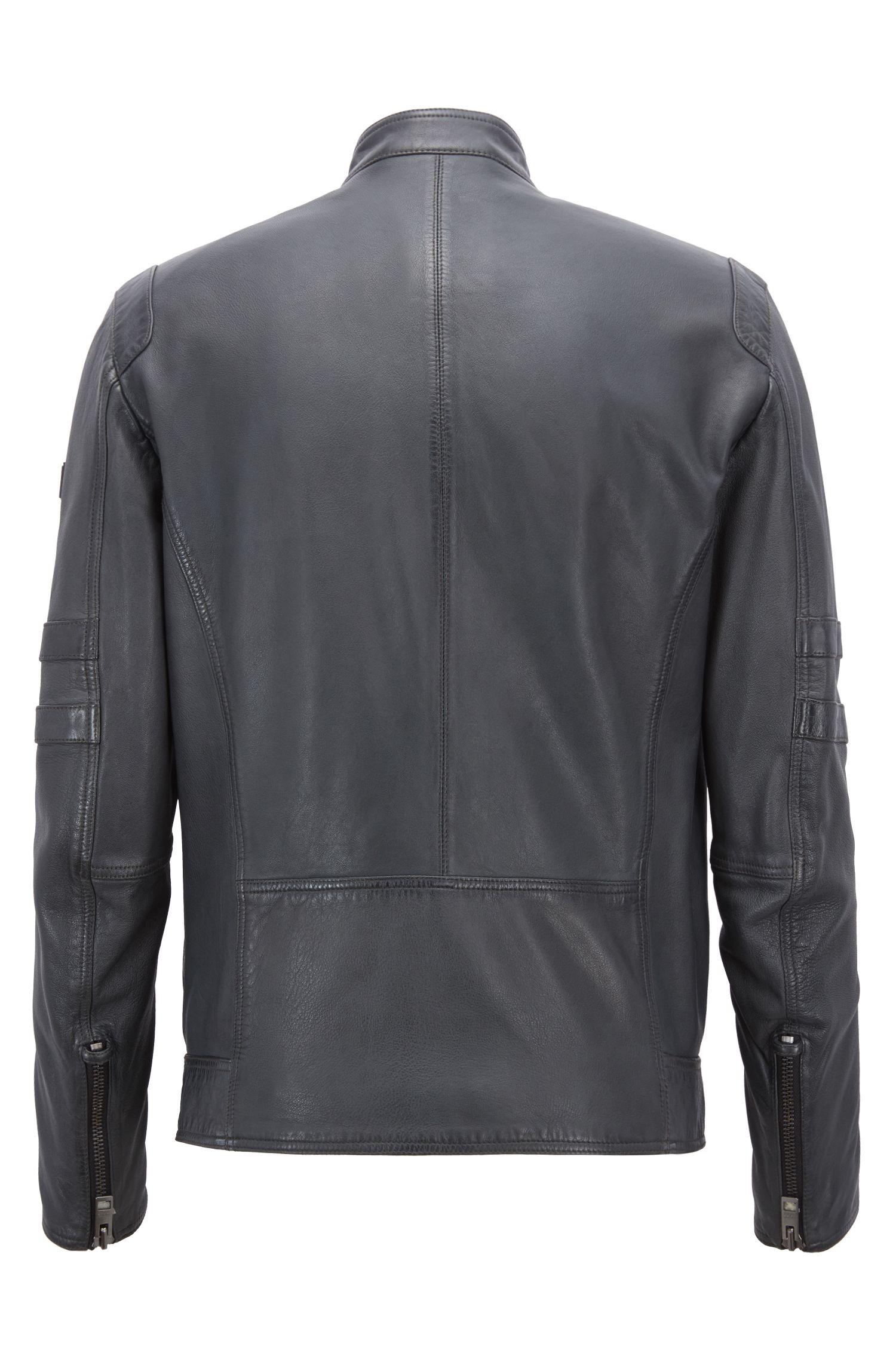Slim-Fit Bikerjacke aus leicht gewachstem Leder, Dunkelblau