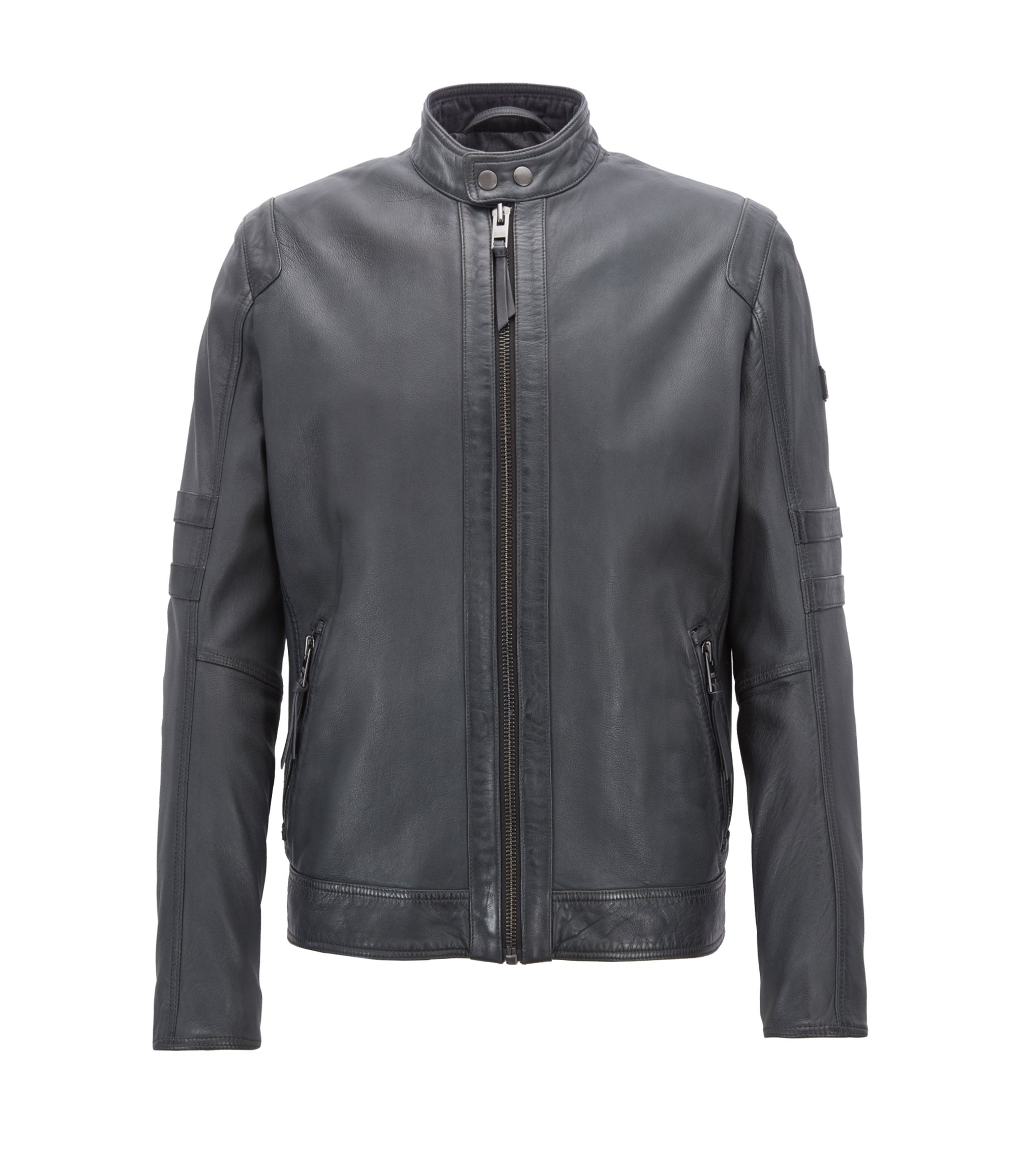 Slim-fit biker jacket in lightly waxed leather, Dark Blue