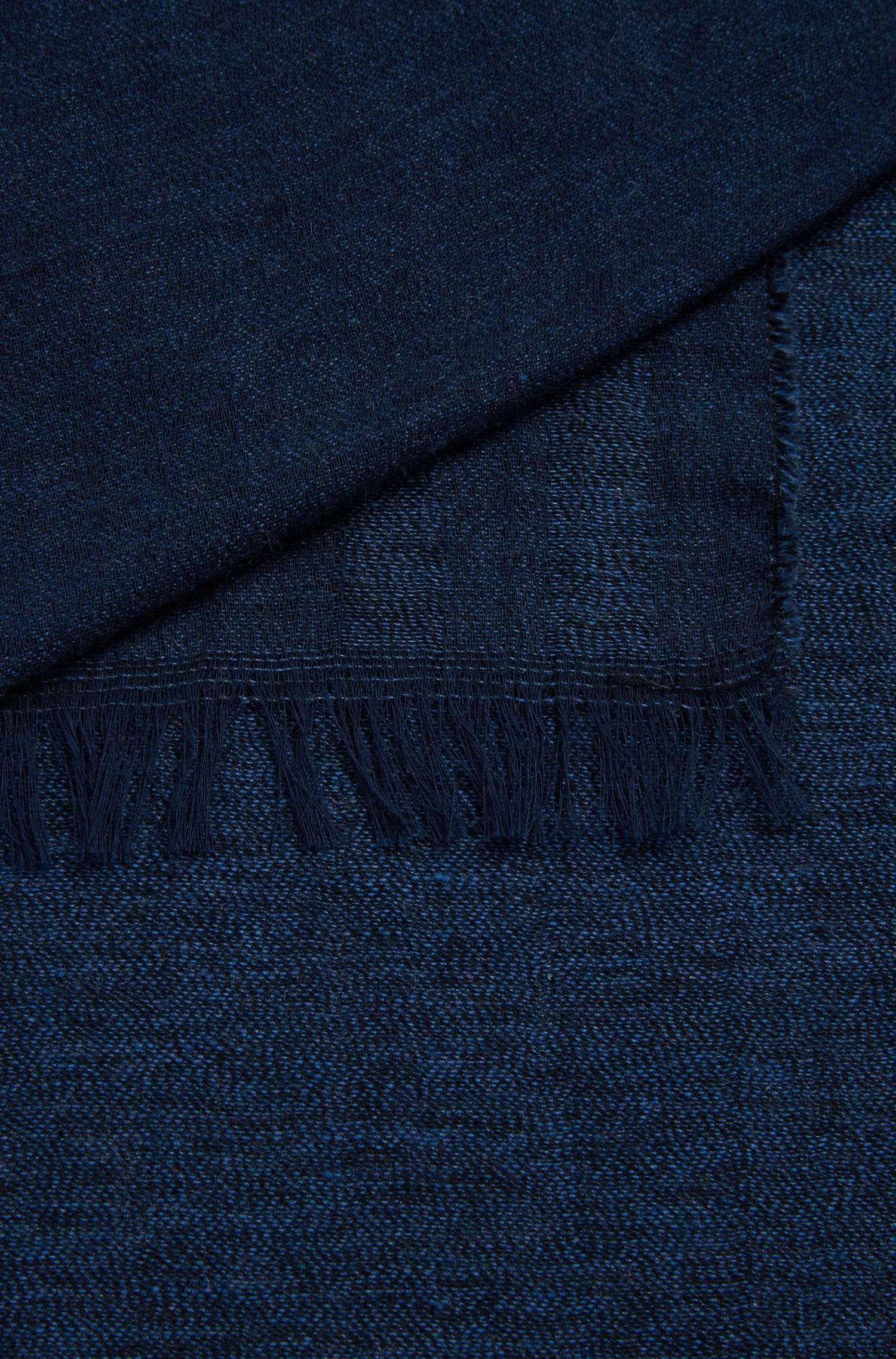 Fringed scarf in denim-inspired Italian cotton