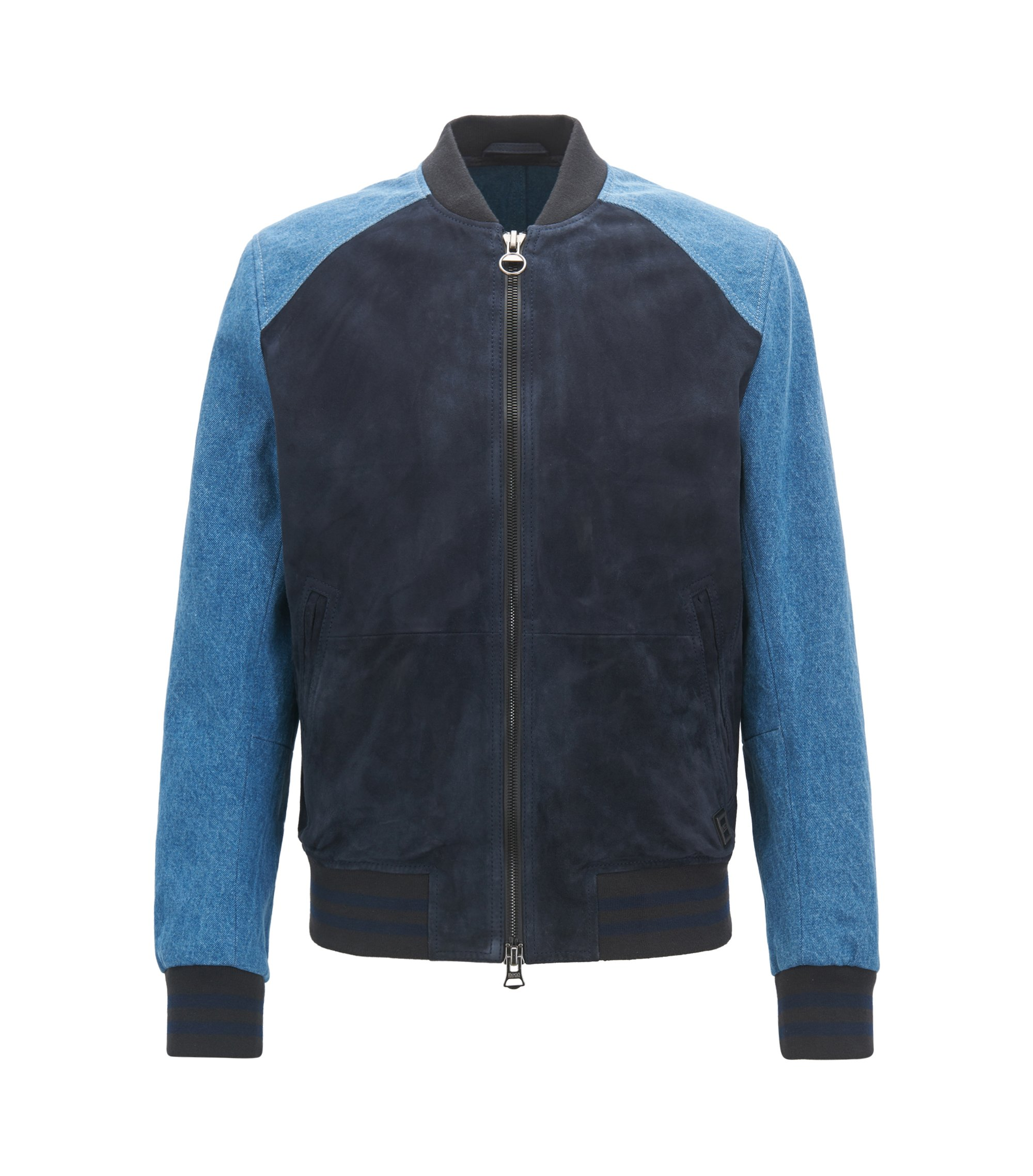Slim-fit varsity jacket in suede and denim, Dark Blue