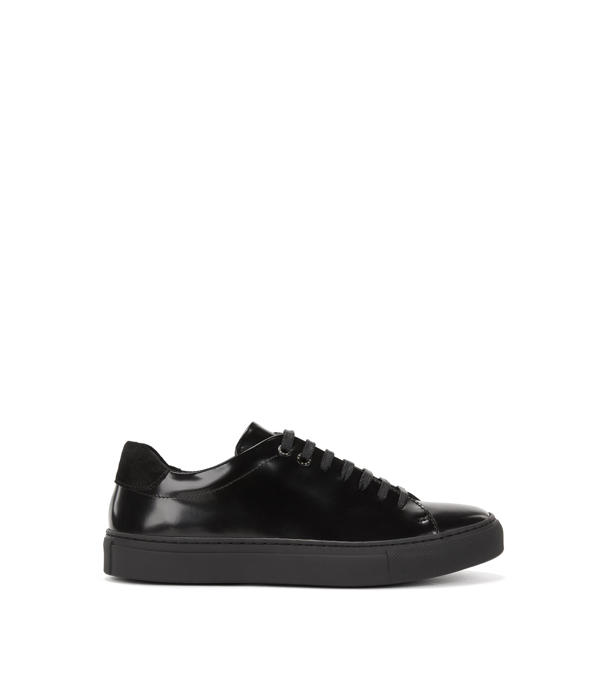 Low-top trainers in Italian canvas and leather, Black