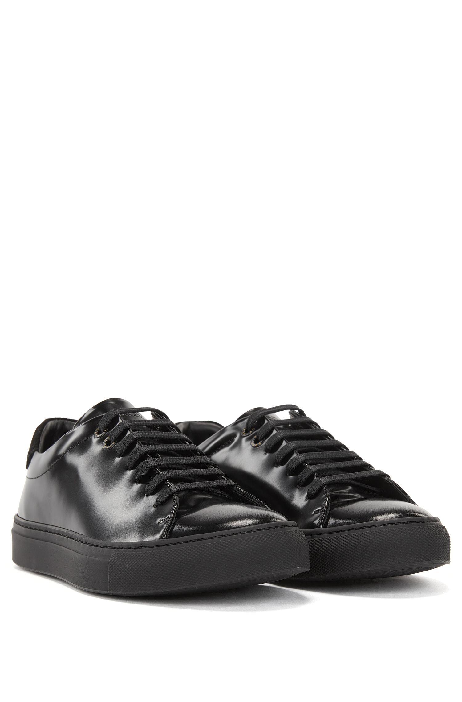 Low-top trainers in Italian leather and canvas HUGO BOSS