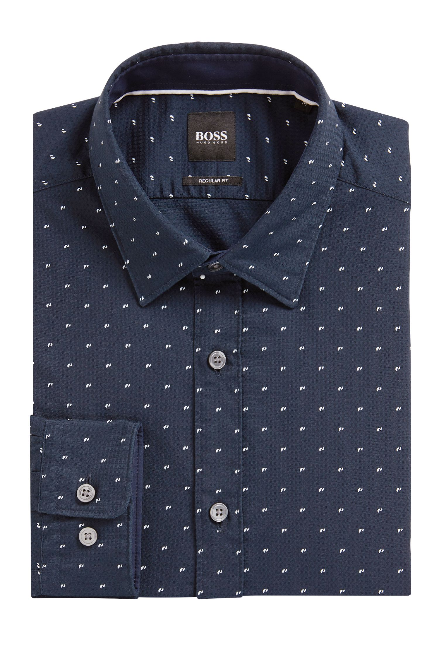 Regular-fit printed dobby cotton shirt