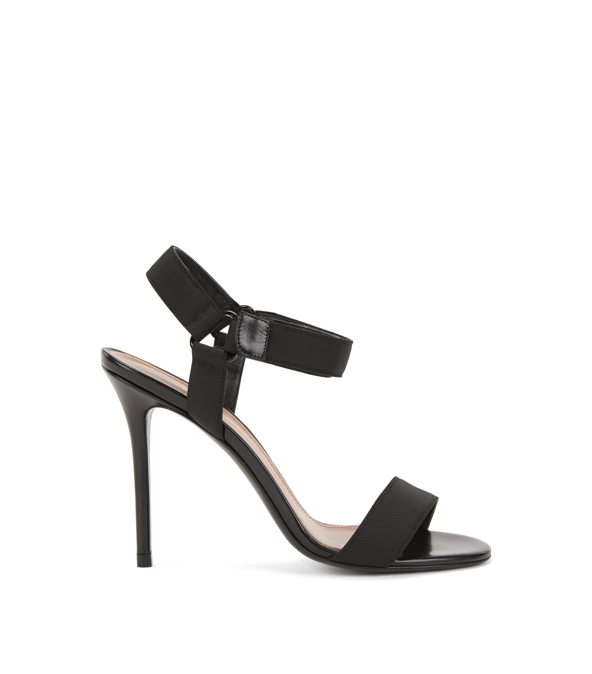 Sandals in Italian leather and canvas, Black