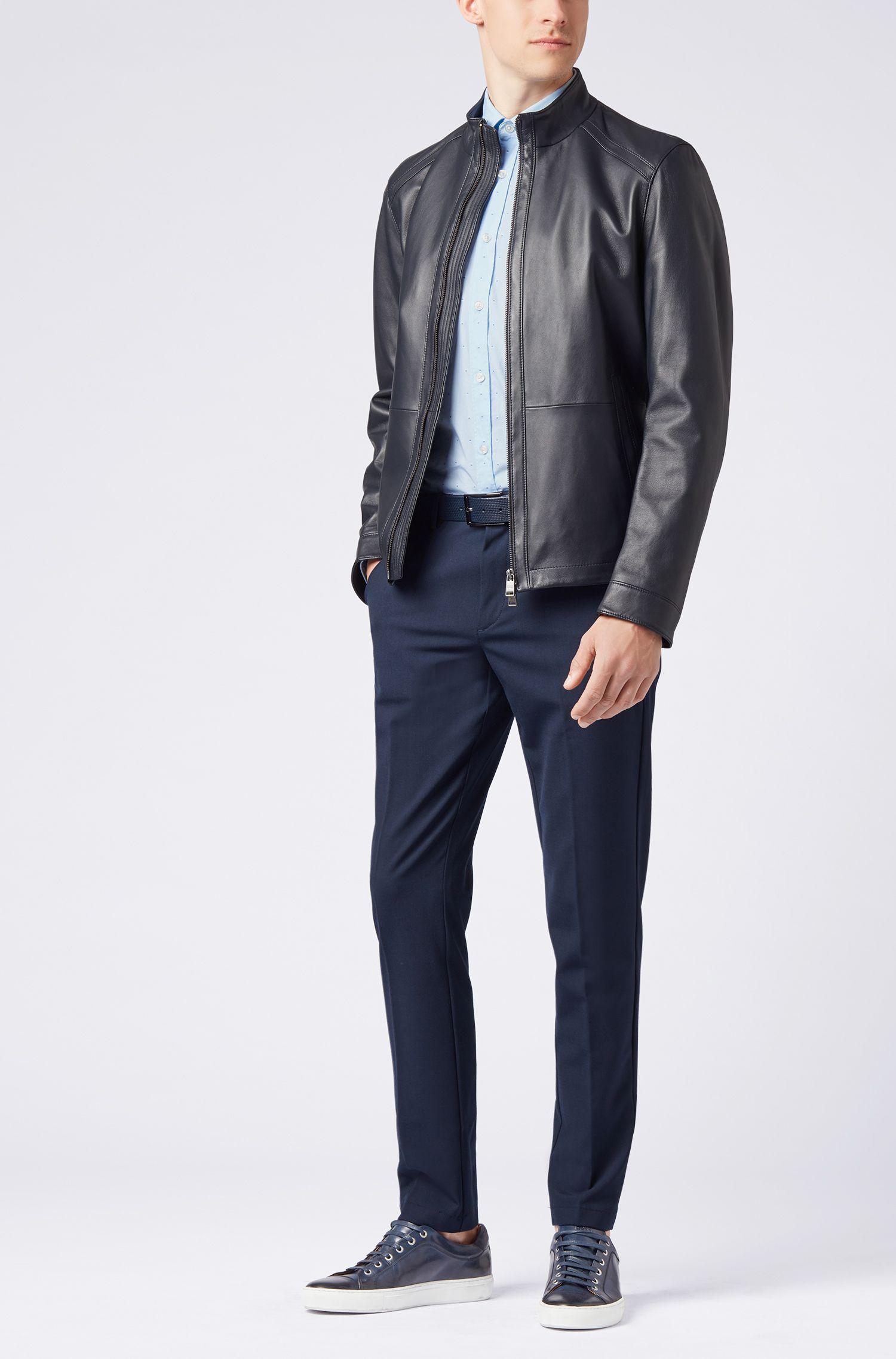 Slim-Fit Hemd aus reiner Baumwolle mit Fil-Coupé-Muster
