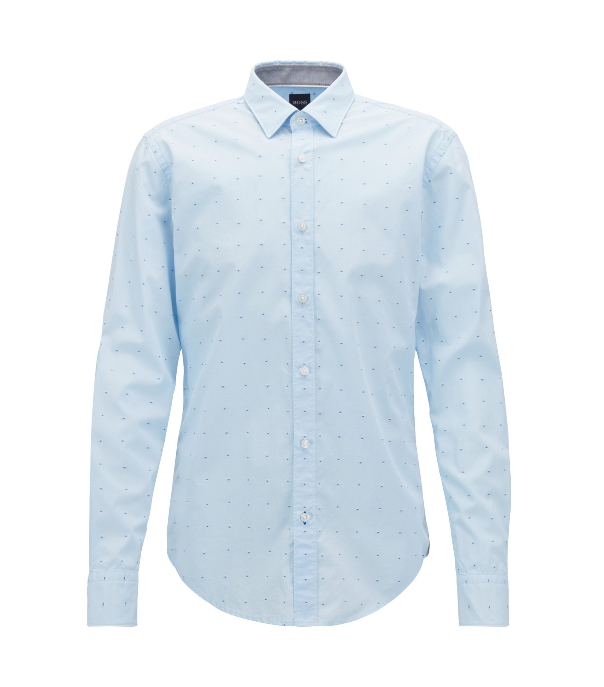 Slim-fit shirt in pure cotton with fil coupé, Light Blue