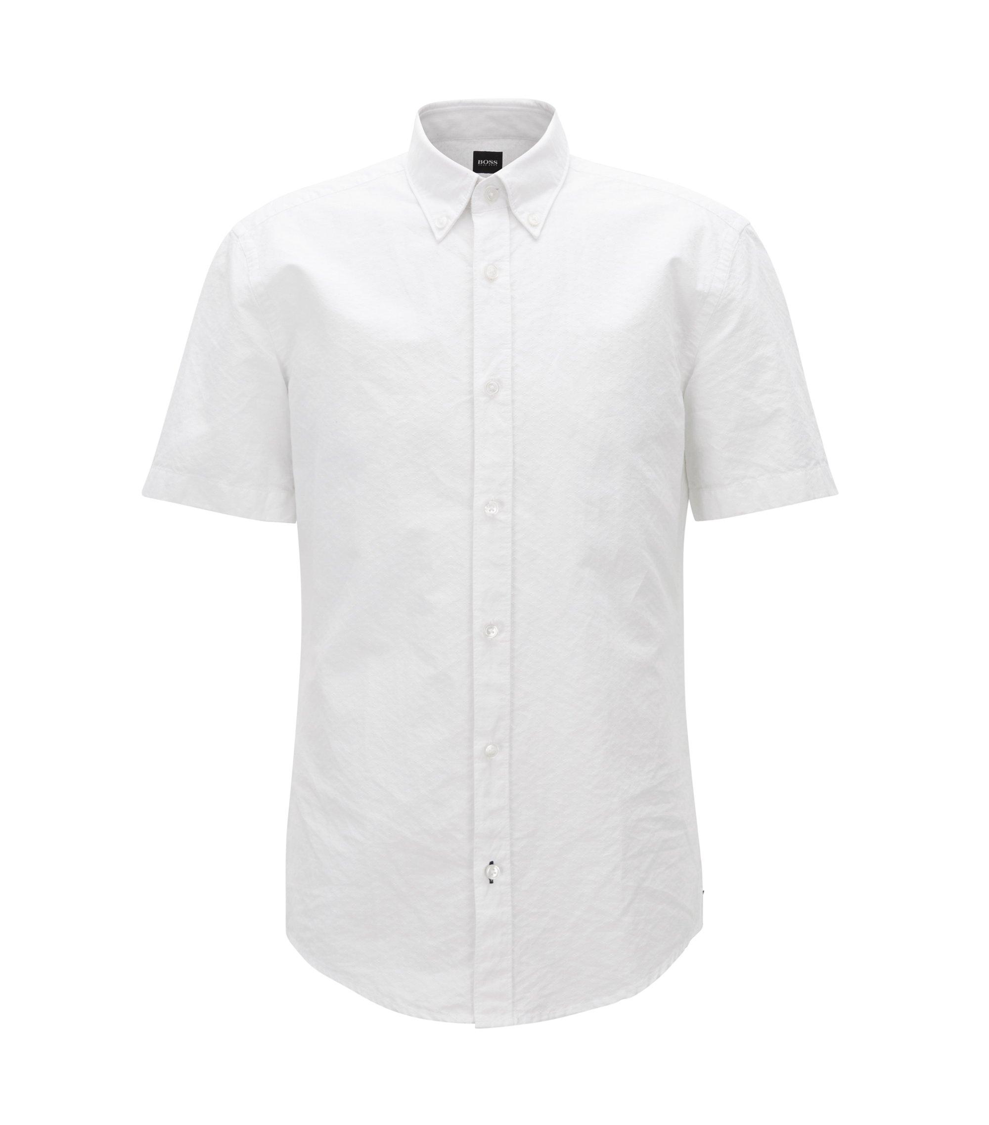 Camicia slim fit in misto cotone dobby, Bianco