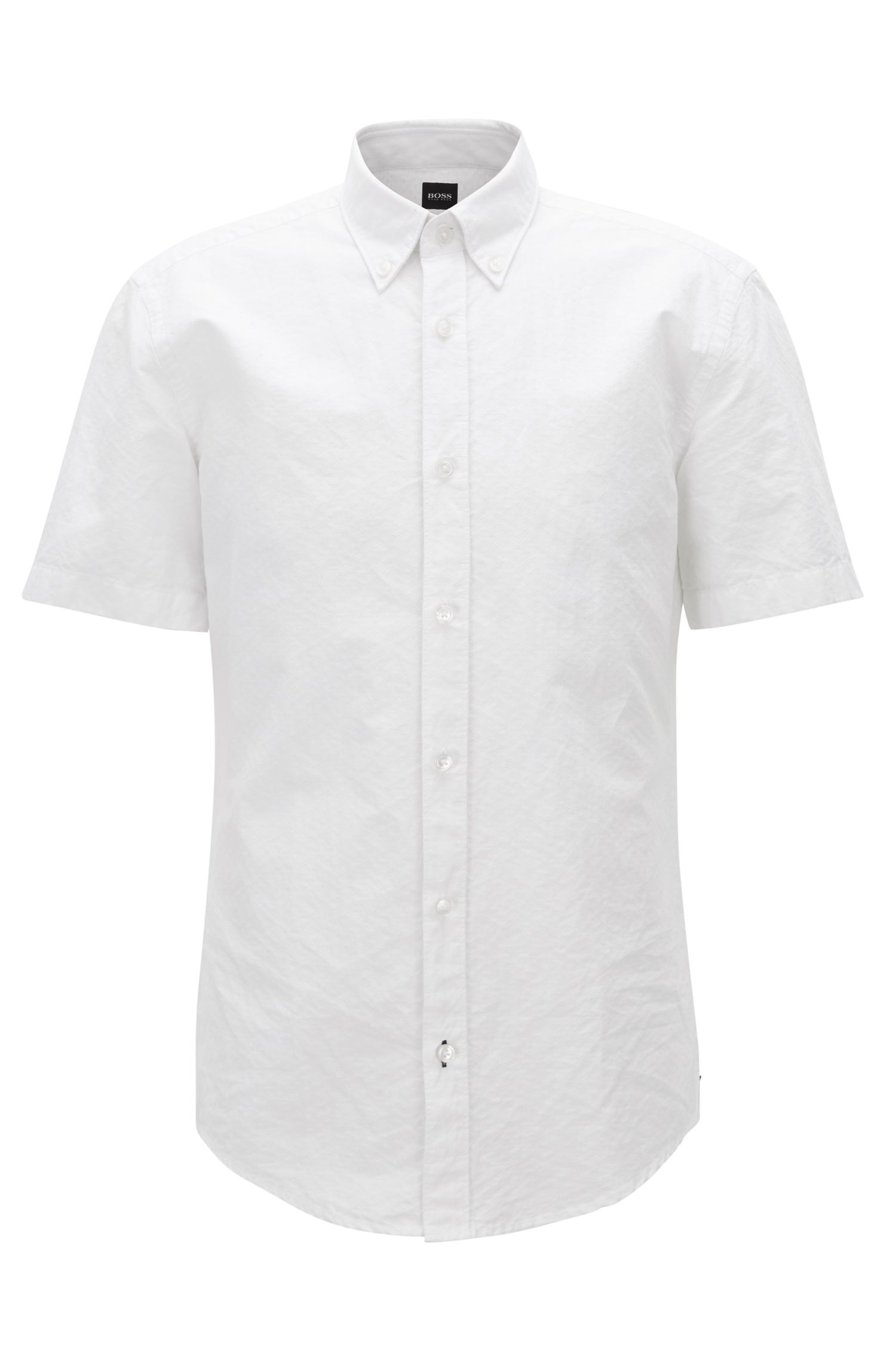 Slim-fit shirt in cotton-blend dobby, White