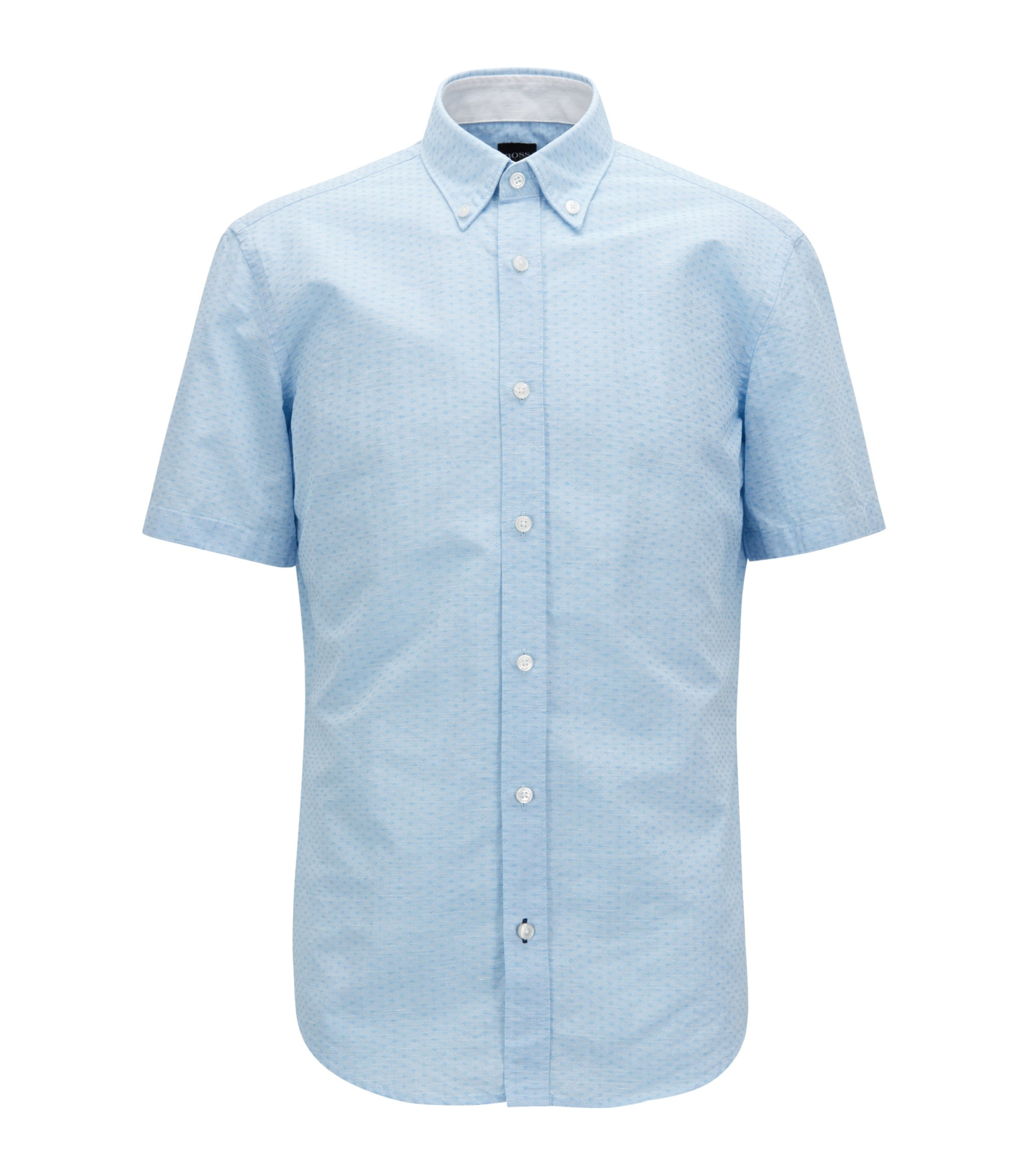Slim-fit shirt in cotton-blend dobby, Blue