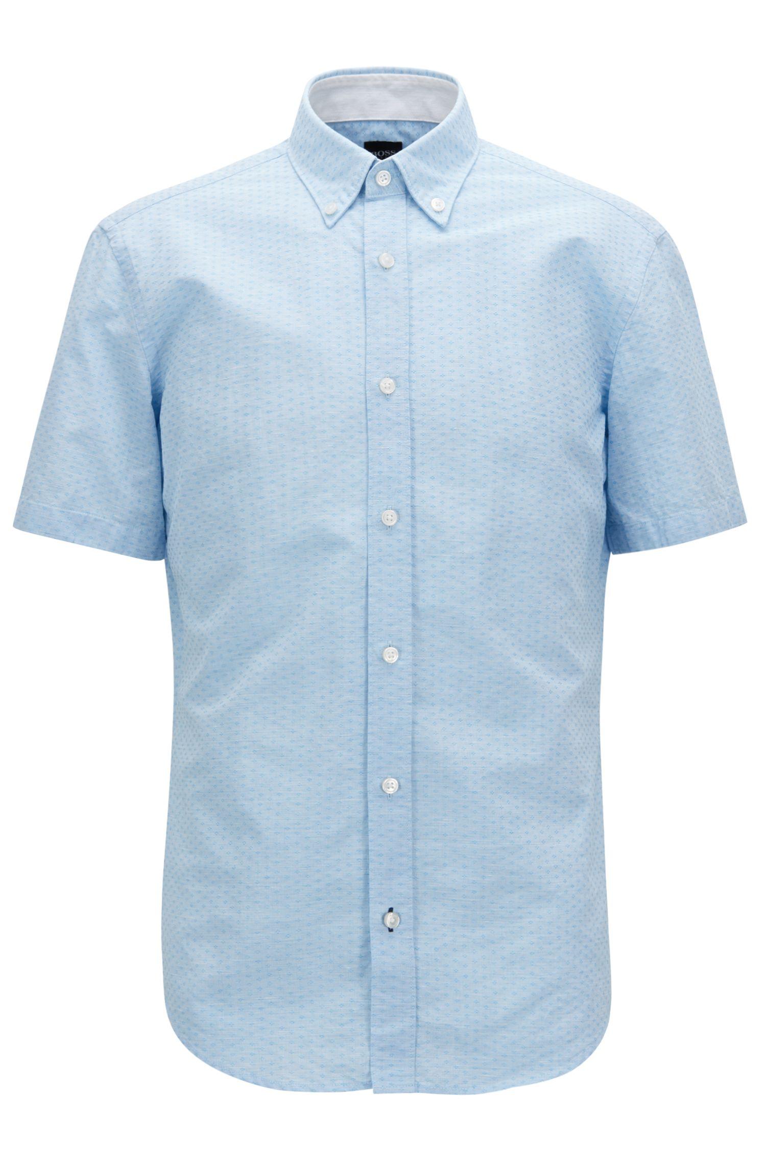 Slim-fit overhemd van een dobbygeweven katoenmix, Blauw