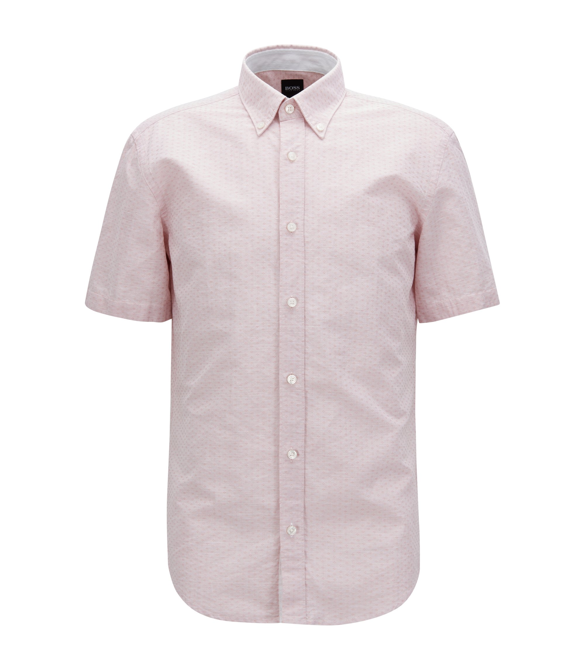 Slim-fit shirt in cotton-blend dobby, Red