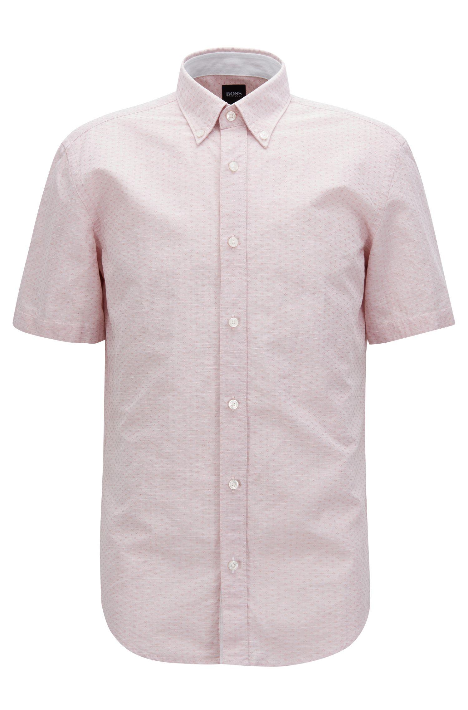 Slim-fit overhemd van een dobbygeweven katoenmix