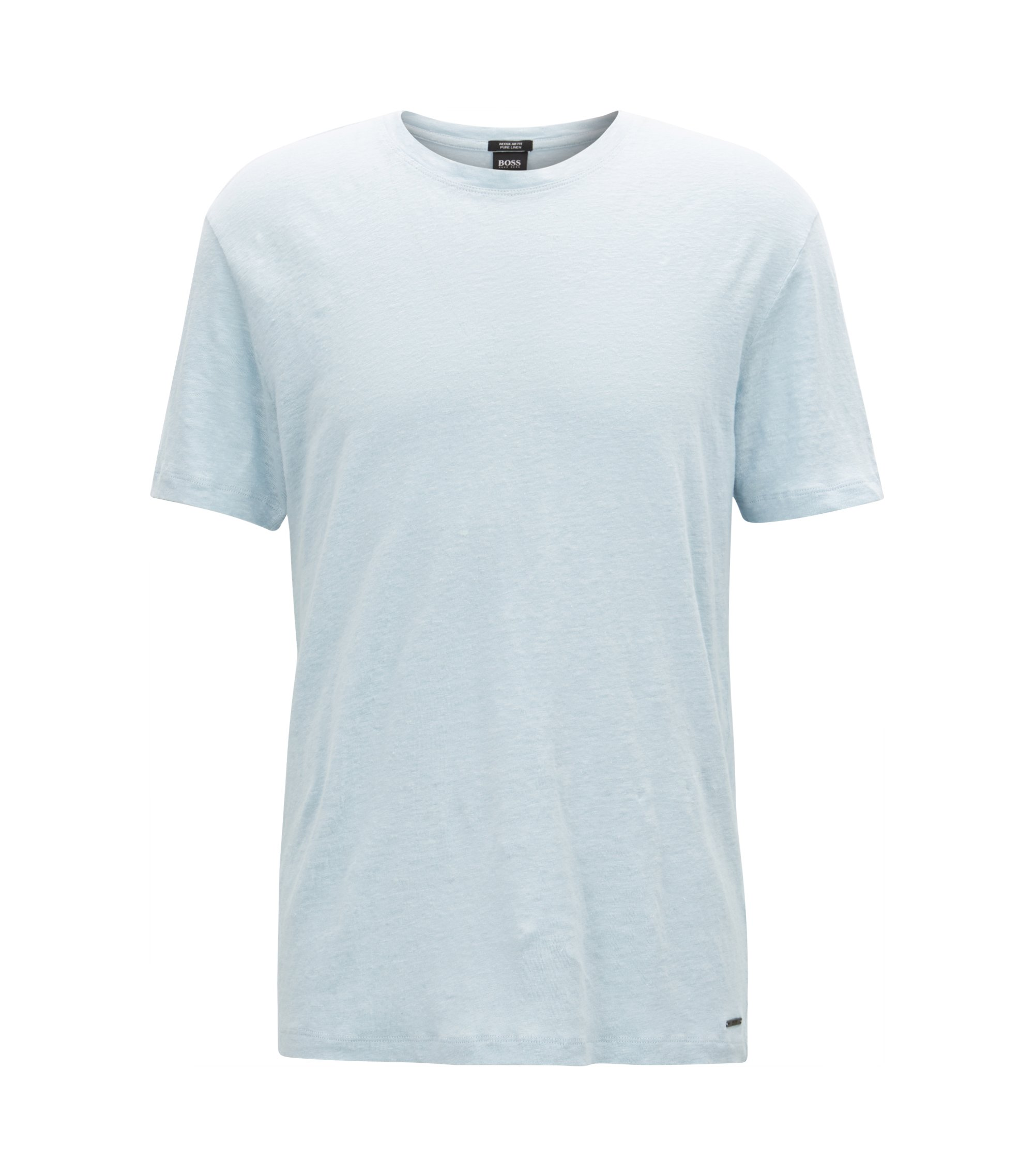Crew-neck T-shirt in single-jersey linen, Light Blue