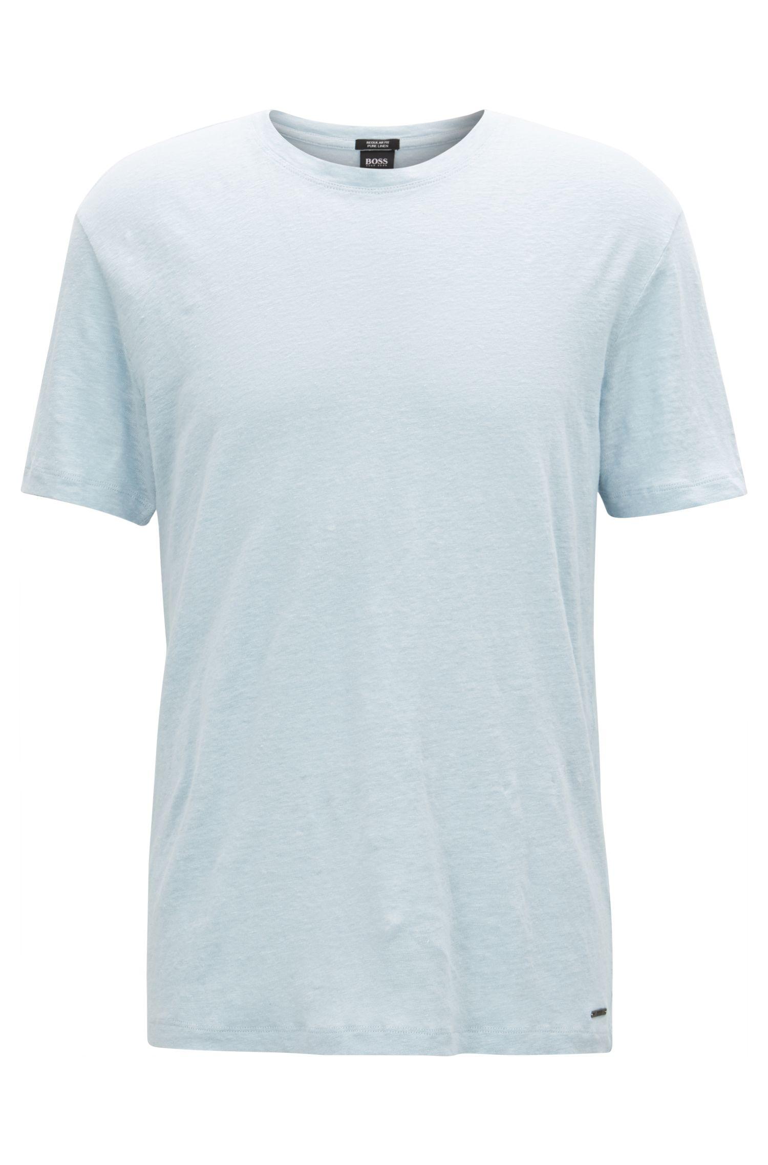 T-shirt à col ras-du-cou en jersey simple de lin, Bleu vif