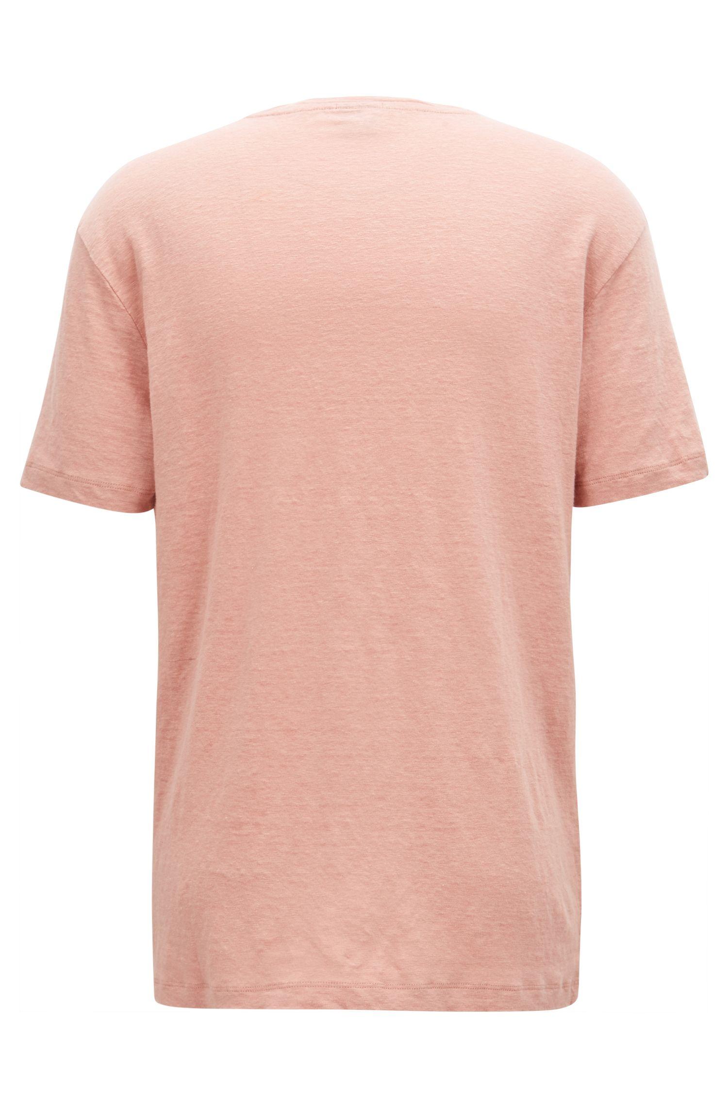 T-shirt à col ras-du-cou en jersey simple de lin, Rouge clair