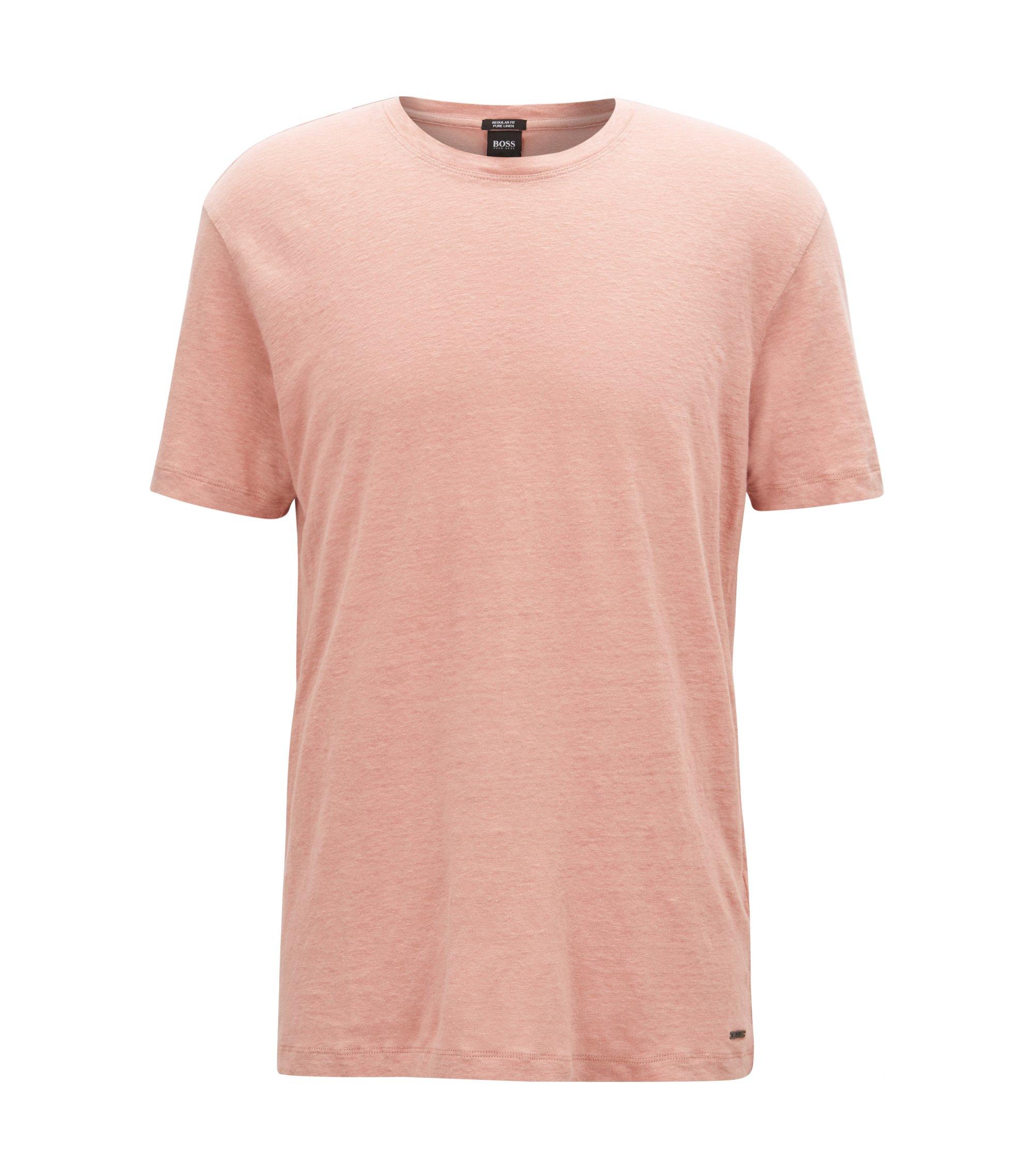 T-shirt met ronde hals van linnen single jersey, lichtrood