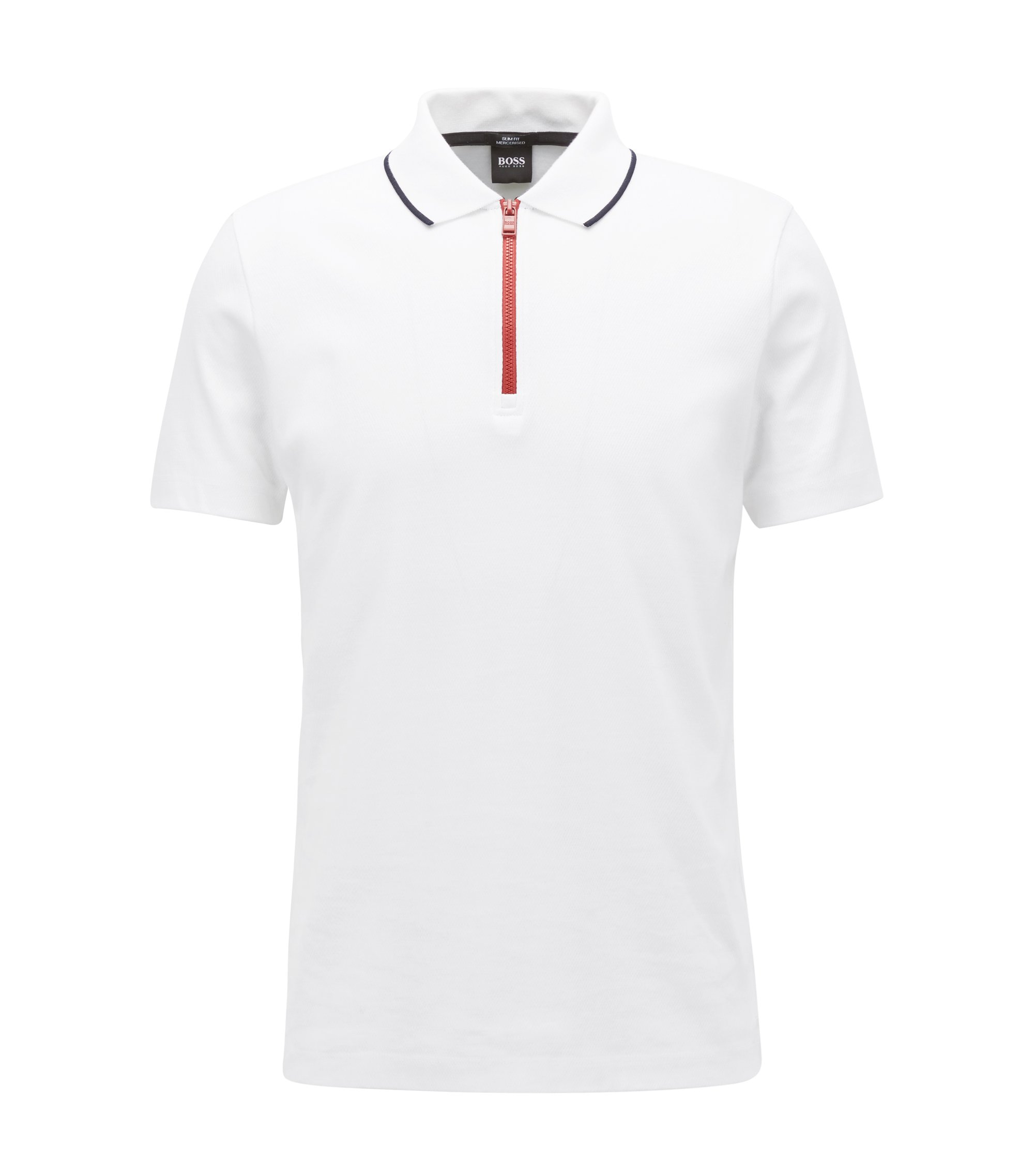 Mercerised cotton polo shirt with contrast zip, White