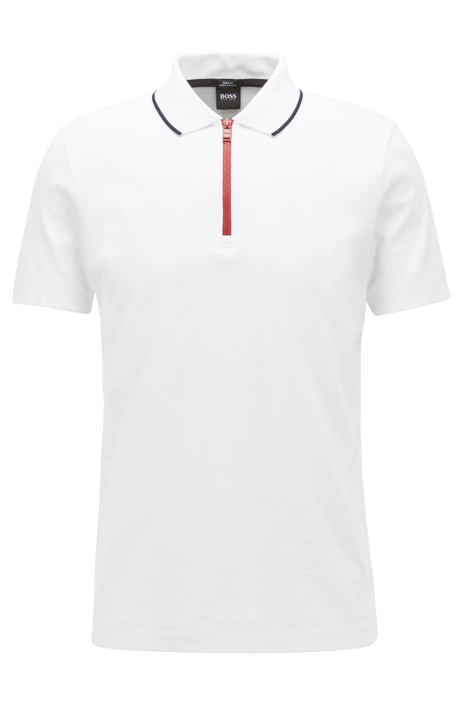 Poloshirt aus merzerisierter Baumwolle mit kontrastfarbenem Reißverschluss, Weiß
