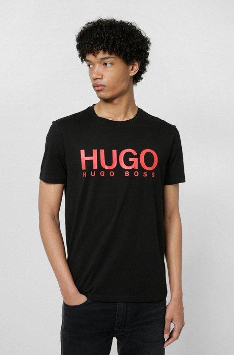 Logo-print regular-fit T-shirt in pure cotton, Black