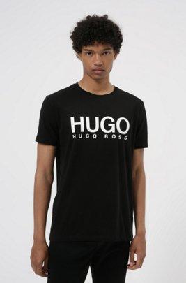 T-shirt en jersey simple de coton avec logo imprimé, Noir
