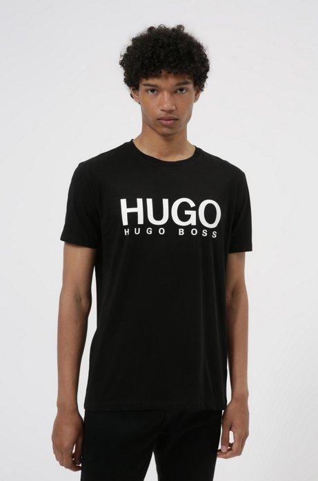 T-Shirt mit Rundhalsausschnitt und kontrastierendem Logo-Print, Schwarz