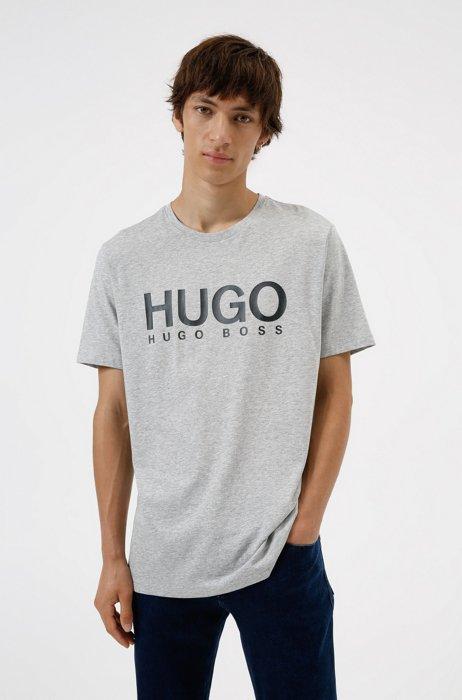 Logo-print regular-fit T-shirt in pure cotton, Light Grey