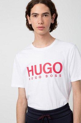 T-shirt en jersey simple de coton avec logo imprimé, Blanc
