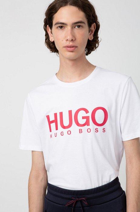 T-shirt regular fit in puro cotone con logo stampato, Bianco