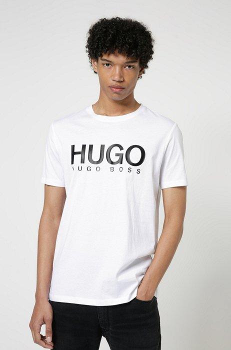 Regular-Fit T-Shirt aus reiner Baumwolle mit Logo-Print, Weiß