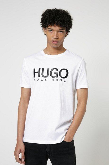 T-Shirt aus Single Jersey mit Logo-Print, Weiß