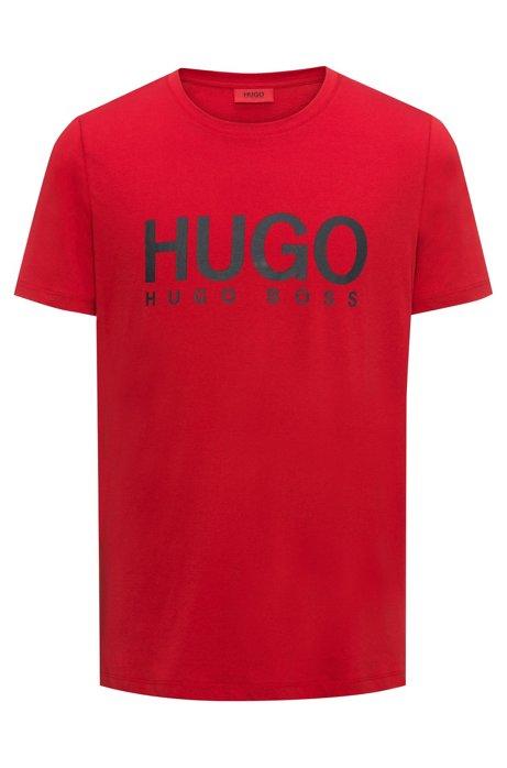 T-Shirt mit Rundhalsausschnitt und kontrastierendem Logo-Print, Rot
