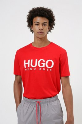 Logo-print T-shirt in single-jersey cotton, Red