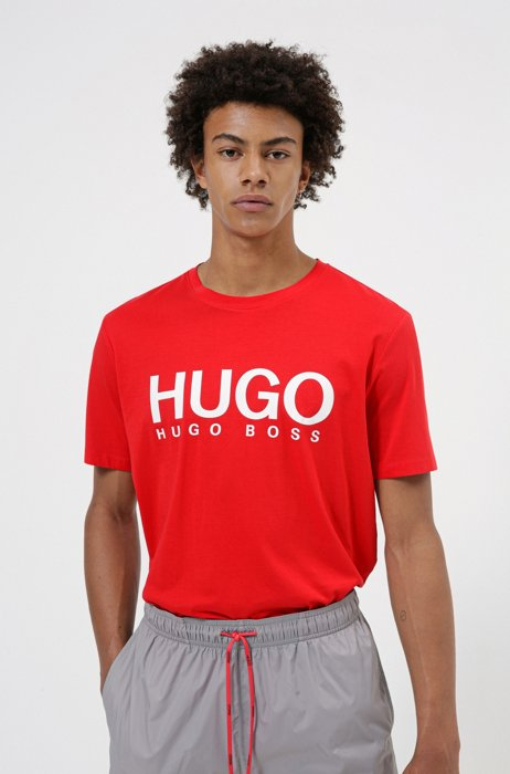 Logo-print regular-fit T-shirt in pure cotton, Red