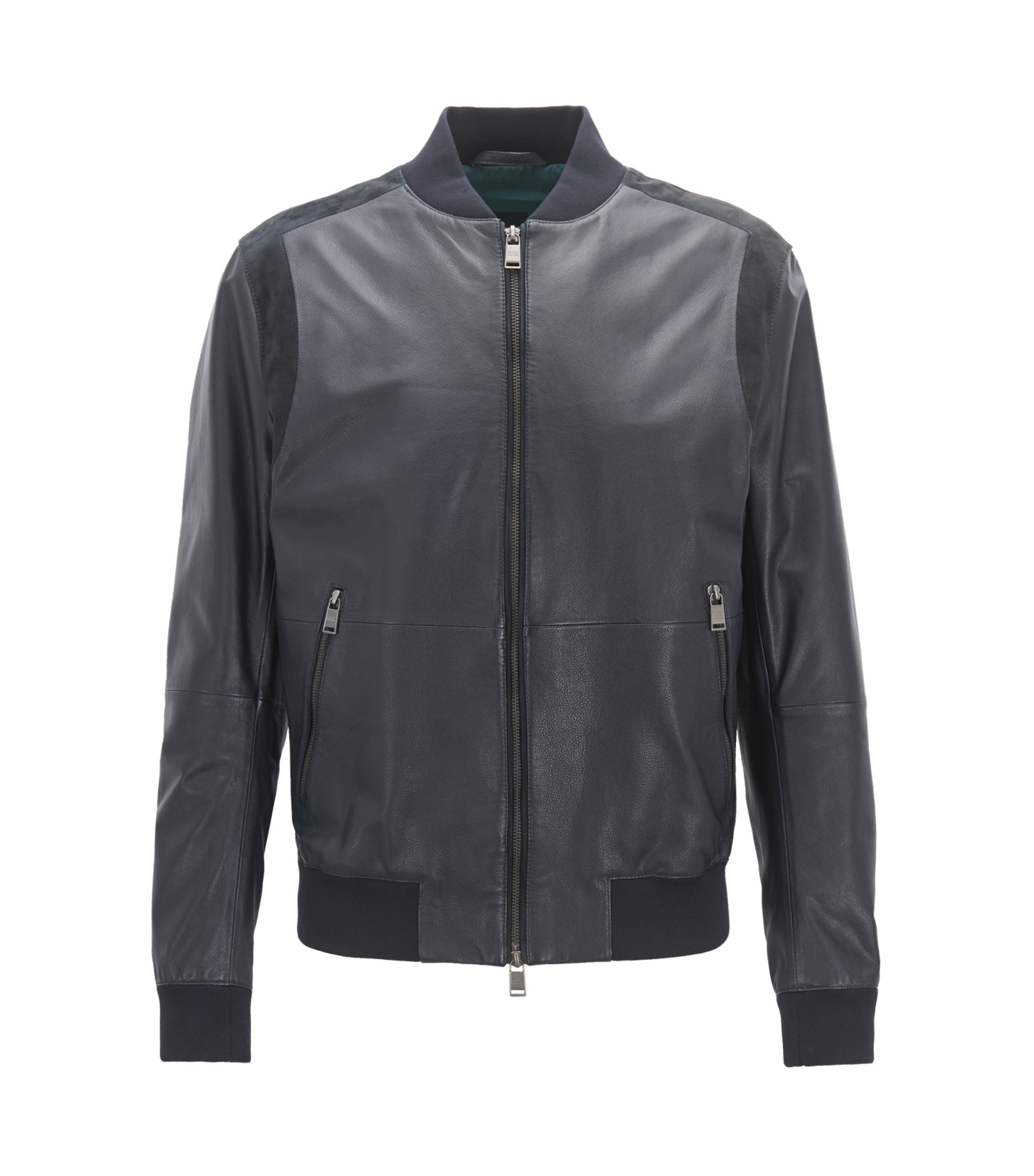 Relaxed-fit leather bomber jacket with suede details, Dark Blue