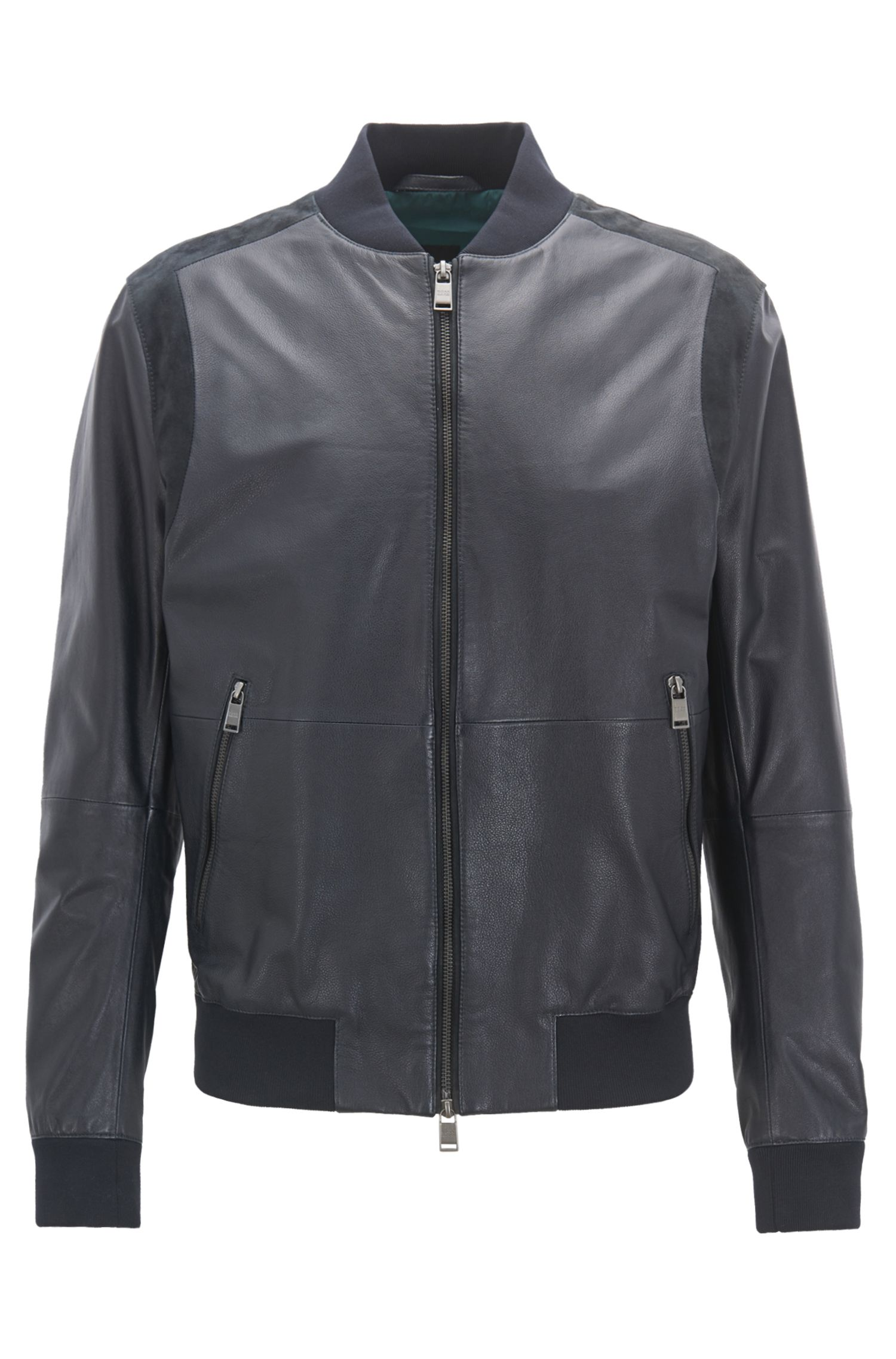 Bomber Relaxed Fit en cuir avec empiècements en daim